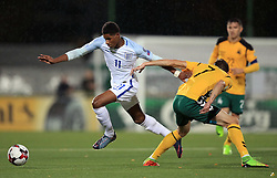 England's Marcus Rashford (left) battles with Lithuania's Arturas Zulpa during the 2018 FIFA World Cup Qualifying Group F match at the LFF Stadium, Vilnius.