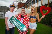 NO FEE PICTURES<br /> 20/1/16 Discover a variety of breathtaking holiday destinations at the Holiday World Show Dublin taking place in the RDS Simmonscourt from tomorrow, Friday 22nd January, through to Sunday, 24th January. Models Kerri-Nicole and Nathan are pictured with Eddie McGuinness, who is launching this years The Outing, LGBT match making at this years Match Making festival in Lisdoonvarna. <br /> For further information on the Holiday World Show 2016 visit www.holidayworldshow.com Picture: Arthur Carron