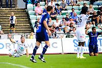 Fotball , Tippeligaen , Eliteserien <br /> Tirsdag 30. August , 20150830<br /> Stabæk - Odd<br /> Odds Espen Ruud roper på straffesparket som ga 0-2. Yassine El Ghannasy hevder sin uskyld <br /> Foto: Sjur Stølen / Digitalsport