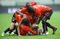 FOOTBALL - FRENCH CHAMPIONSHIP 2010/2011 - L1 - STADE RENNAIS v FC LORIENT - 16/04/2011 - PHOTO PASCAL ALLEE / DPPI - JOY RENNES PLAYERS (REN) AFTER STEPHANE DALMAT'S GOAL