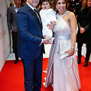 NLD/Amsterdam/20130318 - Premiere Valentino, Najib Amhali, partner Niama le Boudoir en kindje Noah