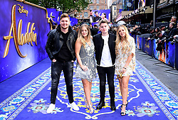 (Left to right) Mikey Pearce, Lucy Connell, Jack Maynard and Lydia Connell attending the Aladdin European Premiere held at the Odeon Luxe Leicester Square, London.