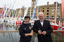 © Licensed to London News Pictures. 01/09/2013. London, UK. Dame Ellen MacArthur poses with Sir Robin-Knox Johnston at St Katharine Docks ahead of the official start. The Clipper 2013-14 Round the World Yacht Race departs from St Katharine Docks on the River Thames.  Photo credit : Vickie Flores/LNPPhoto credit : Vickie Flores/LNP