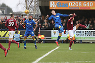 AFC Wimbledon striker Joe Pigott (39) winning a header during the EFL Sky Bet League 1 match between AFC Wimbledon and Northampton Town at the Cherry Red Records Stadium, Kingston, England on 10 February 2018. Picture by Matthew Redman.