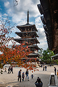 Horyuji Temple's five-story pagoda (32 meters or 122 feet high) is the oldest wooden building existing in the world. The wood used in the center pillar of the pagoda is estimated through a dendrochronological analysis to have been felled in 594. Horyuji Temple was founded in 607 by Prince Shotoku, an early promoter of Buddhism in Japan. Horyuji is one of the country's oldest temples and contains the world's oldest surviving wooden structures. It was designated a UNESCO World Heritage Site in 1993. Horyu-ji is in Nara Prefecture, Japan.