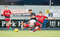 Falkirk's Myles Hippolyte and Ayr United's Nicky Devlin. Falkirk 1 v 1 Ayr United, Scottish Championship game played 14/1/2017at The Falkirk Stadium .