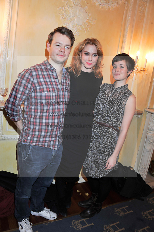 Left to right, Sam Alexander, Kelly Price and Amy Cudden at an after show party following the cast change from 'One Man, Two Guvnors' held at the Theatre Royal Haymarket, London on 12th February 2013.