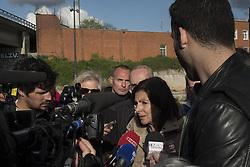 April 27, 2018 - Paris, France - The Mayor of Paris, Anne Hidalgo, visits the migrants' camp in the Parc of La Villette, in Paris, France, on April 27, 2018. (Credit Image: © Guillaume Pinon/NurPhoto via ZUMA Press)