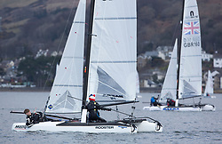 The annual RYA Youth National Championships is the UK's premier youth racing event. This year's regatta is taking place in Largs, Scotland, and will feature around 200 young sailors aged between 14 and 21. <br /> <br /> 070 Alex Hamel, Charlie Hamel, Weston Sailing Club, Nacra 15 Open<br /> <br /> Images: Marc Turner / RYA<br /> <br /> For further information contact:<br /> <br /> Richard Aspland, <br /> RYA Racing Communications Officer (on site)<br /> E: richard.aspland@rya.org.uk<br /> m: 07469 854599