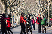 Pensioners dance in pairs at Fuxing Park in Shanghai, China, on Feb. 6, 2016.
