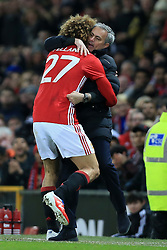 10th January 2017 - EFL Cup (Semi-Final) - Manchester United v Hull City - Marouane Fellaini of Man Utd celebrates with Man Utd manager Jose Mourinho after scoring their 2nd goal - Photo: Simon Stacpoole / Offside.