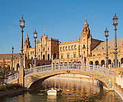 The Plaza de España, Seville, Spain built for the Ibero-American Exposition of 1929. It is a landmark example of the Renaissance Revival style in Spanish architecture.