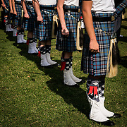 Bagpipers from The Citadel regimental band stand at attention during Gold Star parade on Summerall Field on Friday, September 10, 2021.<br /> <br /> Credit: Cameron Pollack / The Citadel