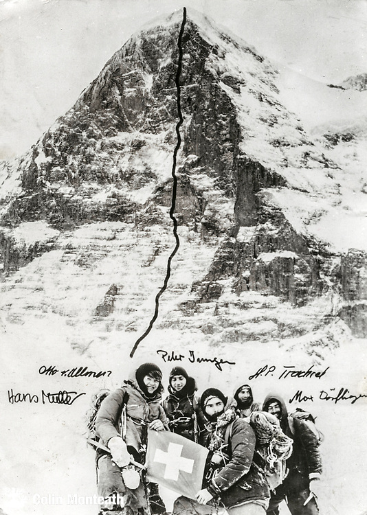 Japanese direct route on North wall Eiger, Switzerland completed in winter January 1970 by Hans Muller, Otto von Allman, Peter Jurgen, Hans-Peter Trachsel and max Dorfliger.