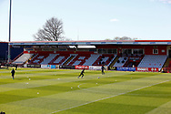 Ground shot of stand during the EFL Sky Bet League 2 match between Stevenage and Bradford City at the Lamex Stadium, Stevenage, England on 5 April 2021.