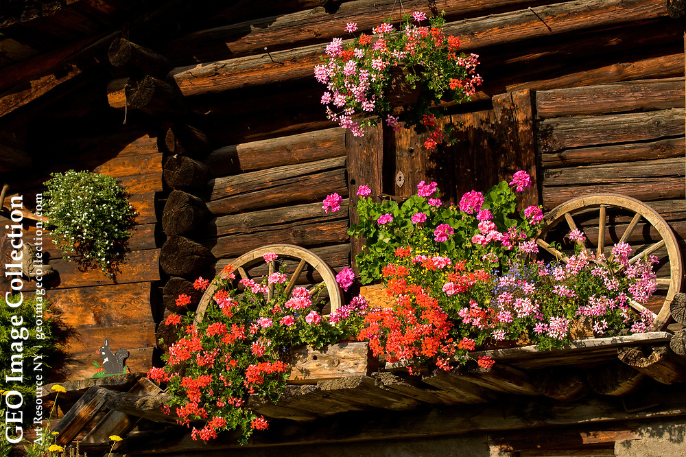 Colorful flowers in window boxes on an alpine cottage.