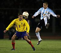 Fotball<br /> Copa America 2004<br /> Peru<br /> Argentina v Equador<br /> Foto: Digitalsport<br /> NORWAY ONLY<br /> Argentina jubler<br /> ANDRES D'ALESSANDRO, ARGENTINA og  ANDRES OBREGON, EQUADOR