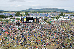 View from the M&D ferris wheel of the main arena on Sunday, T in the Park, 12th July 2008..T in the Park 2008 festival took place on the Friday 10th July, Saturday 11th July and Sunday 12th July, at Balado, near Kinross in Perth and Kinross, Scotland..Pic ©Michael Schofield. All Rights Reserved..