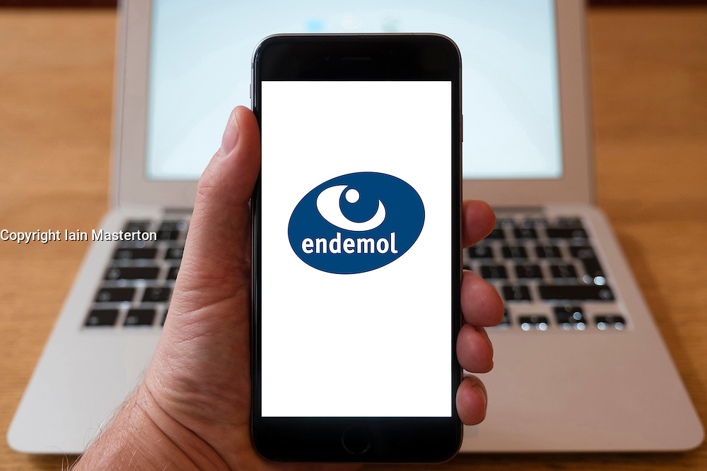 Using iPhone smartphone to display logo of Endemol TV Production company