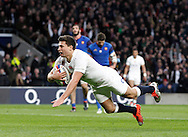 Ben Youngs of England breaks through to score late in the 1st half during the RBS 6 Nations match at Twickenham Stadium, Twickenham<br /> Picture by Andrew Tobin/Focus Images Ltd +44 7710 761829<br /> 21/03/2015