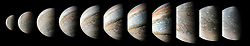 Sep 28, 2017 - Jupiter Atmosphere - This sequence of color-enhanced images shows how quickly the viewing geometry changes for NASA's Juno spacecraft as it swoops by Jupiter. The images were obtained by JunoCam. Once every 53 days, Juno swings close to Jupiter, speeding over its clouds. In just two hours, the spacecraft travels from a perch over Jupiter's north pole through its closest approach (perijove), then passes over the south pole on its way back out. This sequence shows 11 color-enhanced images from Perijove 8 (Sept. 1, 2017) with the south pole on the left (11th image in the sequence) and the north pole on the right (first image in the sequence). (Credit Image: ? JPL-Caltech/NASA via ZUMA Wire/ZUMAPRESS.com)