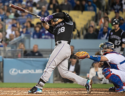 May 22, 2018 - Los Angeles, CA, U.S. - LOS ANGELES, CA - MAY 22: Colorado Rockies' Nolan Arenado (28) hits an RBI single in the third inning during a Major League Baseball game between the Colorado Rockies and the Los Angeles Dodgers on May 22, 2018 at Dodger Stadium in Los Angeles, CA. (Photo by Kyusung Gong/Icon Sportswire) (Credit Image: © Kyusung Gong/Icon SMI via ZUMA Press)