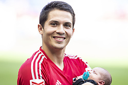 September 30, 2018 - Harrison, New Jersey, United States - Connor Lade of New York Red Bulls walks with newborn baby on pitch after regular MLS game against Atlanta United at Red Bull Arena Red Bulls won 2 - 0 (Credit Image: © Lev Radin/Pacific Press via ZUMA Wire)
