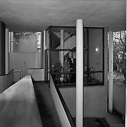 La Plata, Argentina,1987: View of the ramp to mezzanine floor, Currutchet house (1949) at Av. 53-320 - La Plata - Le Corbusier arch - . Photographs by Alejandro Sala, (Historical archive AS)