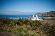 A hotel is seen on Baie des Trépassés (Breton: Bae an Anaon), or the Bay of the Dead in Finisterre, Bretagne, France.<br /> <br /> © Giorgio Perottino