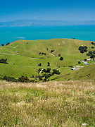 High-angle view of the Firth of Thames, from the Manaia Road on the Coromandel Peninsula, New Zealand