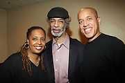 l to r: Kim Jordan, Gil Scott and Glenn Turner backstage at Gil Scott Heron Produced by Jill Newman Productions and held at BB King on November 4, 2009 in New York City