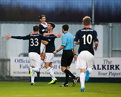 Falkirk's Conor McGrandles cele scoring their second goal.<br /> Half time : Falkirk 2 v 0 Raith Rovers, Scottish Championship game at The Falkirk Stadium.