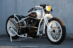 Custom 1949 Panhead (with 1948 forks and frame) built by Reini Servello sitting in front of Reini's Bobber Garage custom shop in Vaduz, Liechtenstein. (The only custom shop in the country!) Monday, February 25, 2019. Photography ©2019 Michael Lichter.