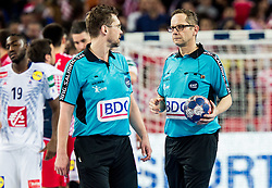 Referees Lars Geipel and Marcus Helbig of Germany  after the handball match between National teams of Croatia and France on Day 7 in Main Round of Men's EHF EURO 2018, on January 24, 2018 in Arena Zagreb, Zagreb, Croatia.  Photo by Vid Ponikvar / Sportida