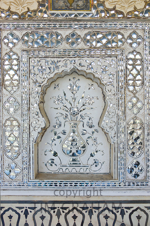 Islamic Persian design Hall of Mirrors, at The Amber Fort a Rajput fort built 16th Century in Jaipur, Rajasthan, Northern India
