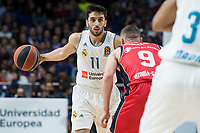 Real Madrid Facundo Campazzo and Baskonia Vitoria Marcelinho Huertas during Turkish Airlines Euroleague match between Real Madrid and Baskonia Vitoria at Wizink Center in Madrid, Spain. January 17, 2018. (ALTERPHOTOS/Borja B.Hojas)