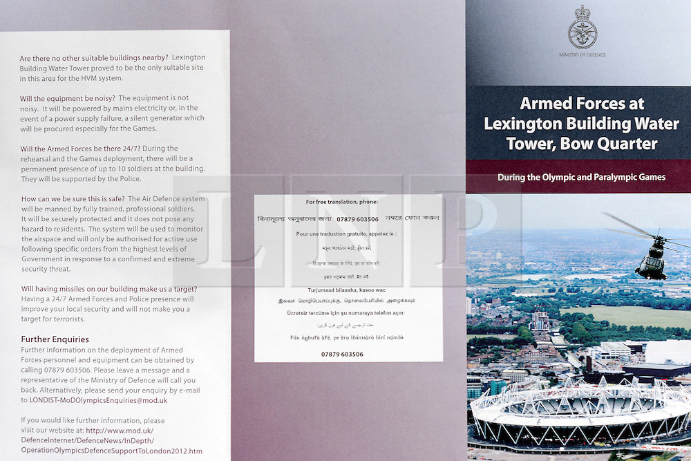 © Licensed to London News Pictures. 29/04/2012. London, UK . A leaflet delivered to residences. The military has told residents of an upscale apartment development near the Olympic Park in east London it is installing a missile battery on top of a tower within their housing complex to defend the 2012 Games this summer. Photo credit : Stephen Simpson/LNP