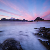 Colorful sunset from Storsandnes Beach, Flakstadoy, Lofoten Islands, Norway