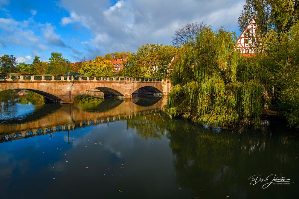 Bridge over the Pegnitz River, Nuremberg, Bavaria, Germany