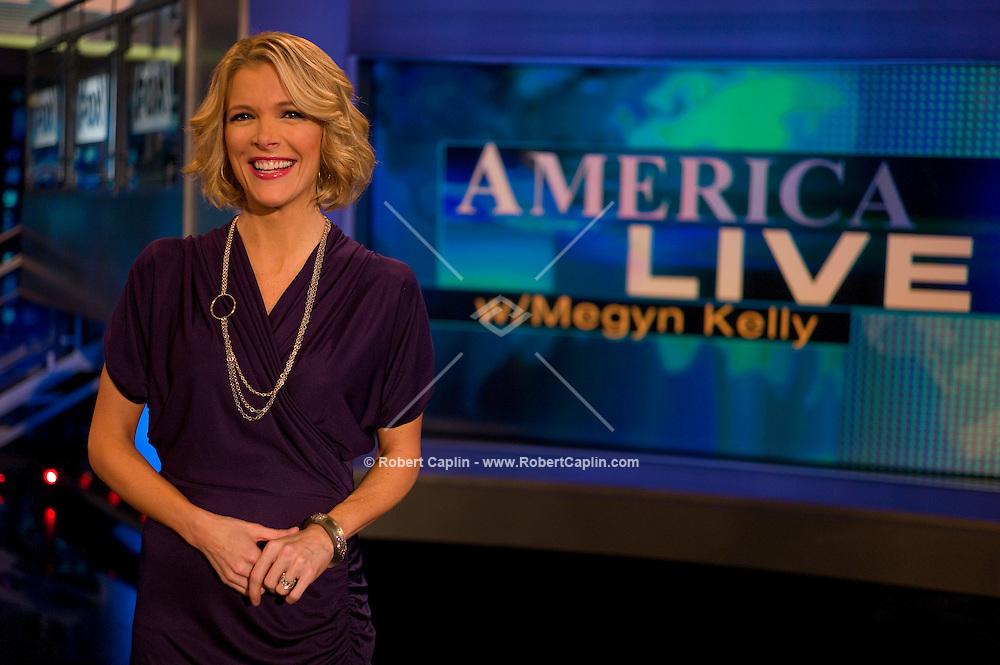 Megyn Kelly, host of America Live on Fox News on set in New York. ..Photo by Robert Caplin.