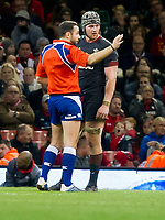 Rugby Union - 2017 Under Armour Series (Autumn Internationals) - Wales vs. Georgia<br /> <br /> referee Mathieu Raynal of France speaks to Dan Lydiate of Wales  in a confused end to the match , at The Principality Stadium (Millennium Stadium), Cardiff.<br /> <br /> COLORSPORT/WINSTON BYNORTH