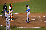 Chicago Cubs catcher David Ross (3) and right fielder Jason Heyward (22) celebrate after scoring a run during Game 4 of the NLDS against the San Francisco Giants at AT&T Park in San Francisco, Calif., on October 11, 2016. (Stan Olszewski/Special to S.F. Examiner)