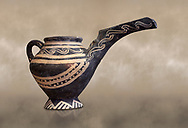 """Minoan Vasiliki Ware long spouted """"teapots"""", Vasiliki 2300-1900 BC BC, Heraklion Archaeological  Museum. .<br /> <br /> If you prefer to buy from our ALAMY PHOTO LIBRARY  Collection visit : https://www.alamy.com/portfolio/paul-williams-funkystock/minoan-art-artefacts.html . Type -   Heraklion   - into the LOWER SEARCH WITHIN GALLERY box. Refine search by adding background colour, place, museum etc<br /> <br /> Visit our MINOAN ART PHOTO COLLECTIONS for more photos to download  as wall art prints https://funkystock.photoshelter.com/gallery-collection/Ancient-Minoans-Art-Artefacts-Antiquities-Historic-Places-Pictures-Images-of/C0000ricT2SU_M9w"""