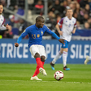 PARIS, FRANCE - March 25: Ngolo Kanté #13 of France in action during the France V Iceland, 2020 European Championship Qualifying, Group Stage at  Stade de France on March 25th 2019 in Paris, France (Photo by Tim Clayton/Corbis via Getty Images)