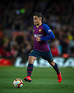 Coutinho controls during the Spanish league football match of 'La Liga'  FC BARCELONA against RAYO VALLECANO at Camp Nou Stadium of Barcelona on March 9,2019