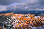 Afternoon light on rock formations below Bryce Point after a winter storm, Bryce Canyon National Park, Utah