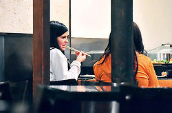 *PREMIUM EXCLUSIVE* Kylie Jenner was spotted out on a dinner date with BFF Jordyn Woods in Studio City, CA. The two enjoyed Sushi at Kiwami on Ventura Blvd, they spent about an hour chit chatting as they enjoyed dinner, the two were also accompanied by a bodyguard. The reality star showed off a little of her post baby body as she was getting up to put on her jacket before leaving. 15 Mar 2018 Pictured: Kylie Jenner was spotted out on a dinner date with BFF Jordyn Woods in Studio City, CA. The two enjoyed Sushi at Kiwami on Ventura Blvd, they spent about an hour chit chatting as they enjoyed dinner, the two were also accompanied by a bodyguard. The reality star showed off a little of her post baby body as she was getting up to put on her jacket before leaving. Photo credit: Marksman / MEGA TheMegaAgency.com +1 888 505 6342