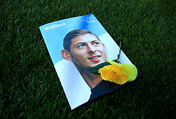A view of the match day programme with an image of Emiliano Sala on the cover in remembrance during the Premier League match at the Cardiff City Stadium.