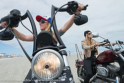 Dana Cooley, Tracy Herndon and the Iron Lillies on the beach for the Hot Leathers ride during the Daytona Bike Week 75th Anniversary event. FL, USA. Tuesday March 8, 2016.  Photography ©2016 Michael Lichter.