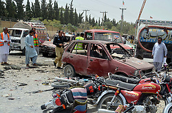 July 26, 2018 - Pakistan - QUETTA, PAKISTAN, JUL 25: Views of venue after suicide bomb explosion targeted polling .station located on Tameer-i-Nau Education Complex school at Eastern Bypass area of Quetta on .Wednesday, July 25, 2018. At least 31 people have been killed and more than 30 injured in a .suicide blast outside a polling station in Quetta Eastern Bypass area. Police officials and civilians .both are among the dead. Eight of the wounded are in critical condition. (Credit Image: © PPI via ZUMA Wire)